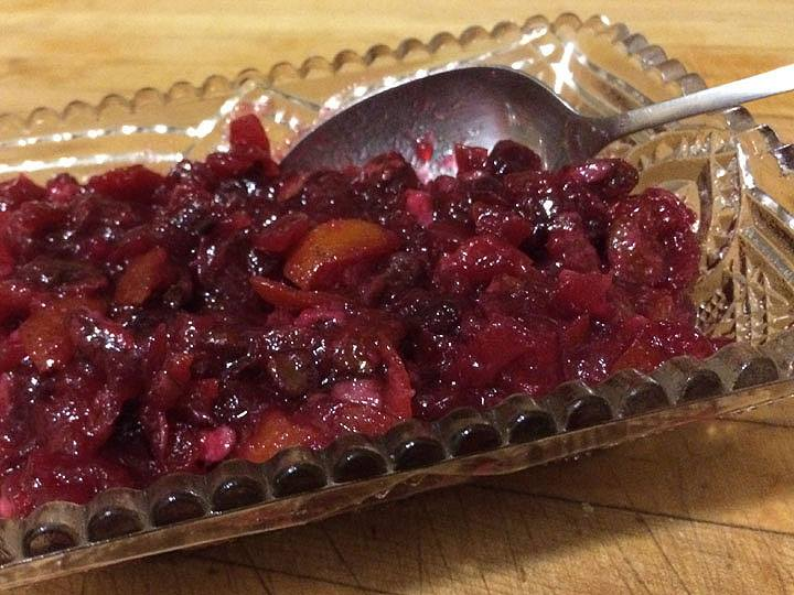 Cranberry Sauce with Kumquats, Black Walnuts and Chambord