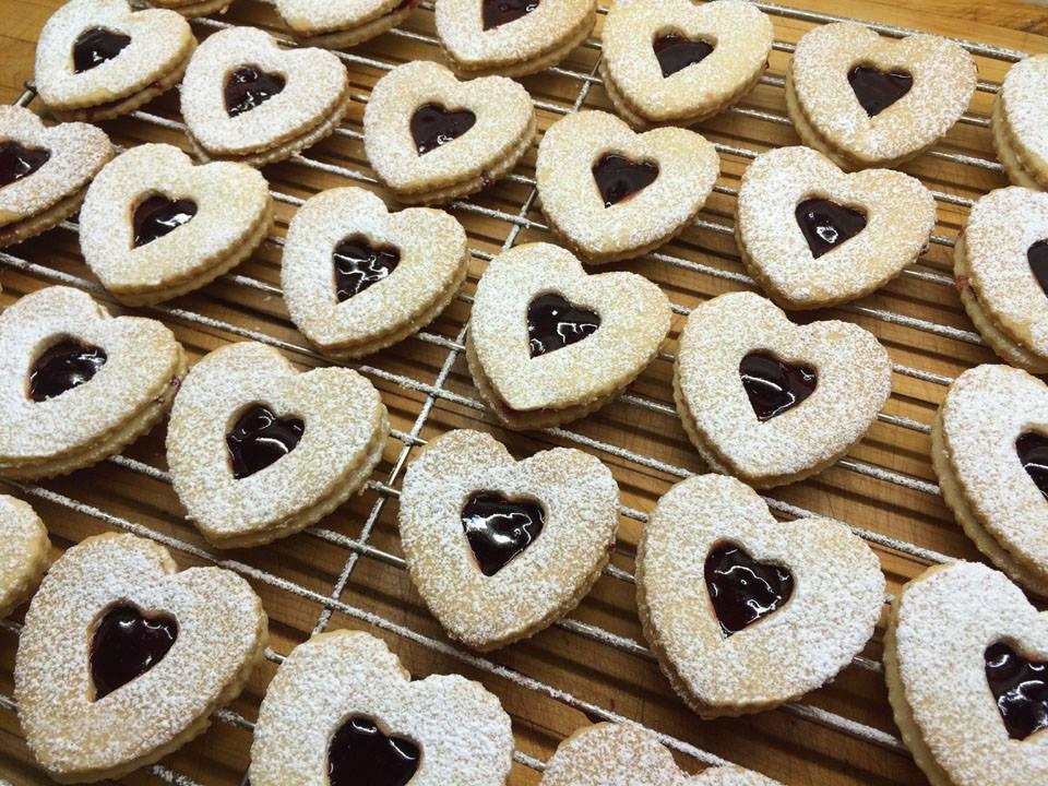 Homemade Valentine's Linzer Cookies.