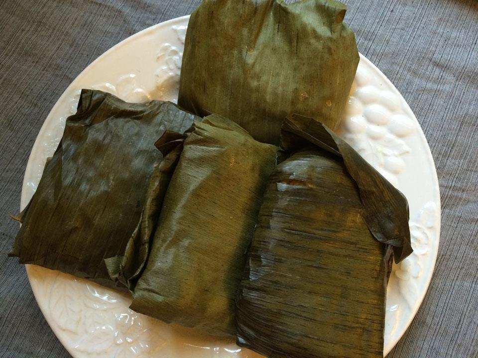 Pork and Taro Banana Leaf Wraps