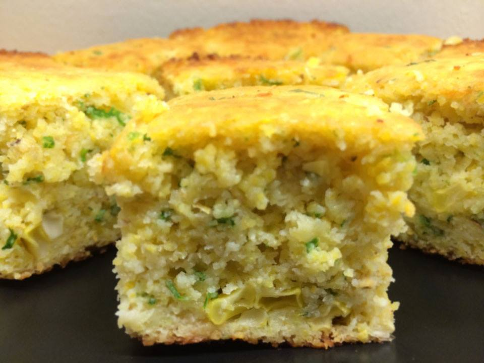 Skillet Cornbread with fresh sweet corn, cheese, cilantro, jalapeño...my special recipe.