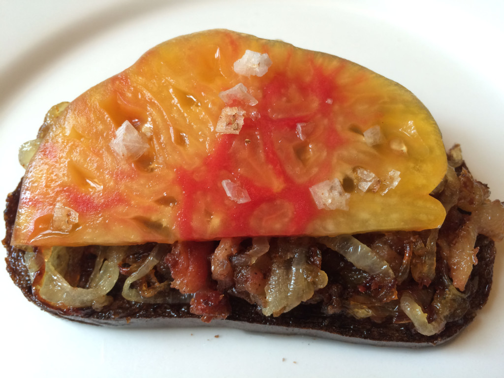 Bacon Pate with Caramelized Onions and Heirloom Tomato